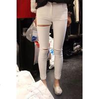2014 new spring women pants black and white knee high waist  basic trousers  elastic hole  leggings women free shipping f1109