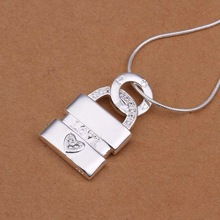 wholesale 2014 New Fashion 925 Sterling Silver Chain LOVE Lock Necklaces Pendants For Women Men jewelry