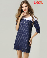 2014 Summer Plus Size 5XL 50kg-110kg Women casual dress lace patchwork  Free shipping