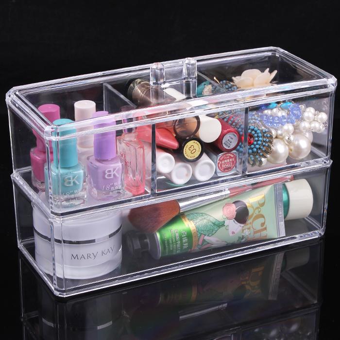 Free shipping Double layer desktop cosmetics storage box transparent dressing perfume skin care products jewelry storage box(China (Mainland))