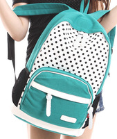 2014 Casual canvas backpack middle school students sport school bag double-shoulder female backpack polka dot casual travel bag