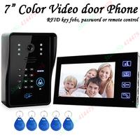 "Touch Key 7"" Lcd Video Door Phone Intercom System With IR Camera & Code Keypad RFID key fobs"