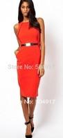 2014 Fashion Summer Sleeveless Knee Length Black Slim Pencil Dress Victoria Beckham Dress  Women Sheath Dress+gift(Belt)