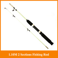 Promotion!!1.10M 2 Sections spinning Fishing Rod Carbon Ultra light  Hand Pole Sea Rod Solid Handle