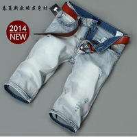 2014 New Arrivals Men Short Jeans Freeshipping New Classic Straight Summer Fashion Cotton Thin White Short Men's Jeans