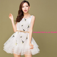 2014 Spring Summer Retro Floral Embroidered Organza Tutu Dress