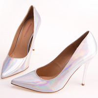 Free Shipping 2014 New arrived  Fashion Pointed toe Laser women Low heel pumps/Hot  pointed toe shallow Sexy women party pumps