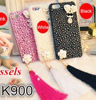 lenovo k900 girl women lady very beautiful lovely shiny case handmade by rhinestone + tassels Free shipping