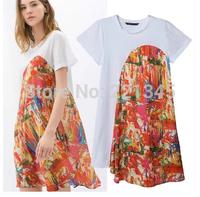 Graffiti leaves printing loose short-sleeved dress irregular hem women