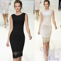 Women Summer White Black Runway Midi Dress 2014 New Fashion Tunic Bodycon Shift Lace Crochet Dresses Career Pencil Dress S - XL