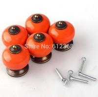 10PCS 30mm Dragon Ball Ceramic Handle Pull Knobs Cabinet Door Cupboard Drawer Locker Vintage Retro Gold Color Orange