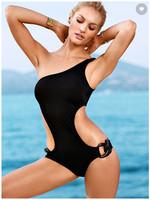 Large size ONE-SHOULDER MONOKINI Sexy swimwear beach Bikini swimsuit  dress