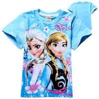 Free shipping 2014 new summer Frozen ice princess romance summer cotton short-sleeved kids T-shirt children's girls T-shirt
