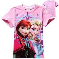 2014 new summer models Frozen ice Romance children Kids T-shirt short sleeved cotton T-shirt for girls free shipping