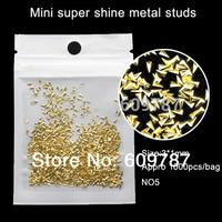 Free shipping 1000pcs/lot gold trangle shape alloy metallic nail decoration, DIY salon decorations