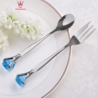 Diamond Times Stainless Gift Fork/Spoon Set Glittering Crystal Cutlery Favors Practical Favors (Pack of 4 Sets) more colors