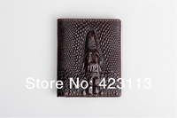Promotion Casual cowhide Wallets For Men New crocodile grain Design Genuine Leather purse Wholesale price Free shipping