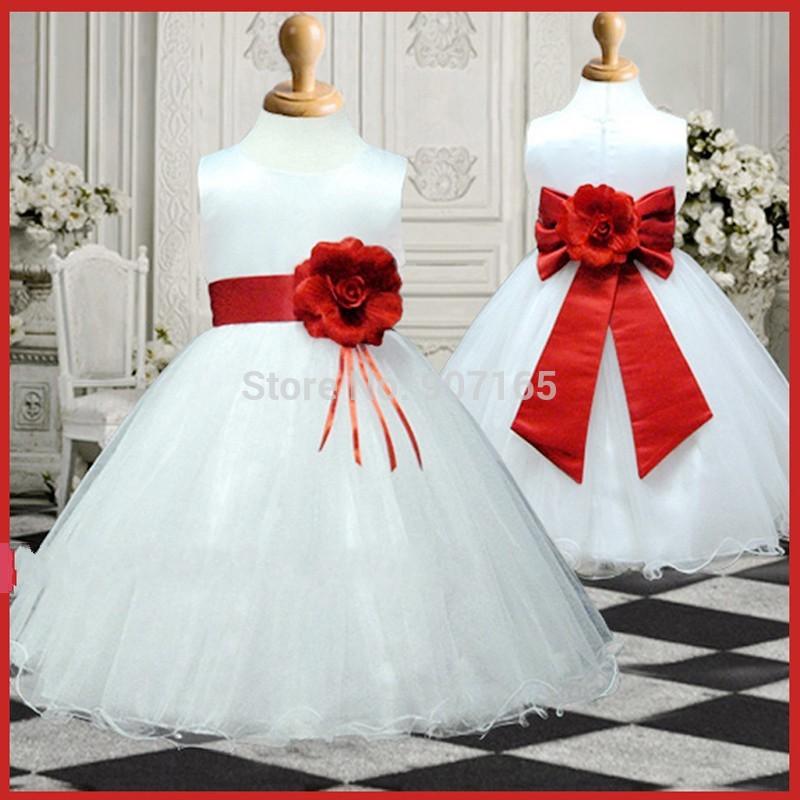 2014 blumenmädchen kleid, mädchen abend partykleid mit schöne schärpe und Blume brouch, 2-14 Jahre, versandkostenfrei
