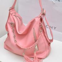 New summer 2014 fashion famous brand women noble tassel medium zipper leather fringe messenger bags bolsas femininas de ombro