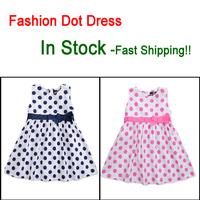 Summer Baby Girl Dresses 2014 100%Cotton Dot Bowknot  Brand Kids Children Dress Party for Girls Princess Infant Toddler Dress