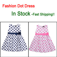 Summer Baby Girl Dresses 2014 100%Cotton Dot Bowknot  Brand Kids Children Dress Party for Girls Princess Infant Toddler Dress