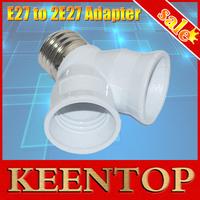 Hot Sale Wholesale 2E27 Lamp Holder Converter LED Corn Ure E27 to 2 E27 Light Lamp Bulb Adapter Converte 1PCS/LOT
