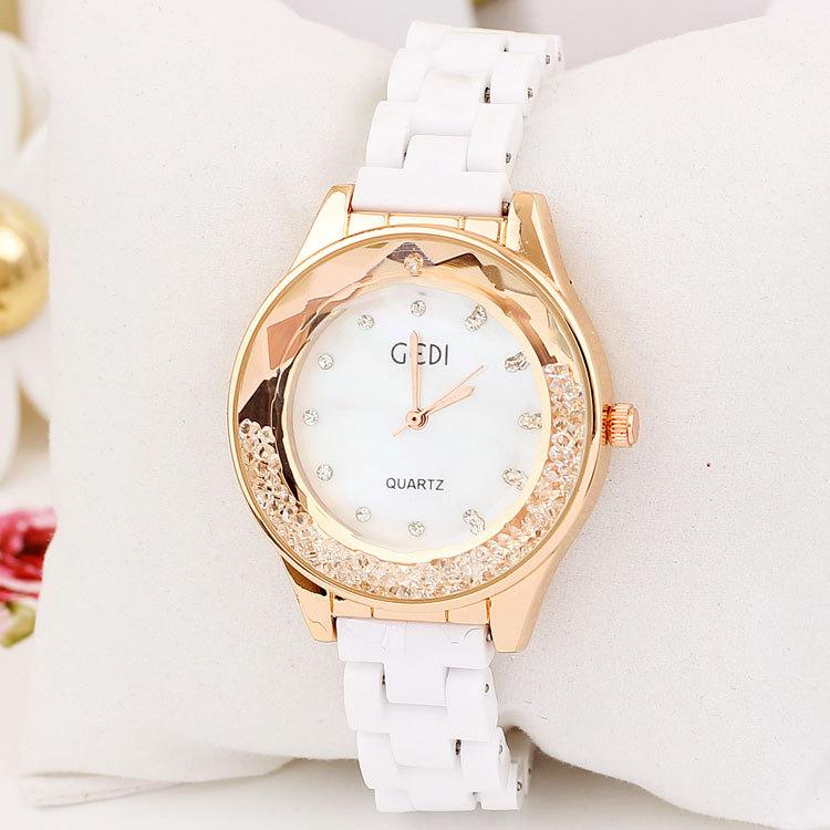 Women Dress Watch Relogio Wach Luxury Rose Gold Clock Women Rhinestone Watch Michael Wacht Casual Ceramic Watch Famous Brand(China (Mainland))