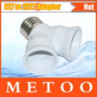 Foxanon brand E27 to 2 E27 Light Lamp Bulb Adapter Converte  2E27 Lamp Holder Converter LED CORN  URE 1PCS/LOT