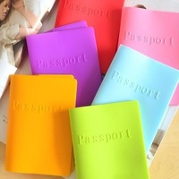 Sales Color passport cover, candy color silicone waterproof passport holder, passport covers case D013-1
