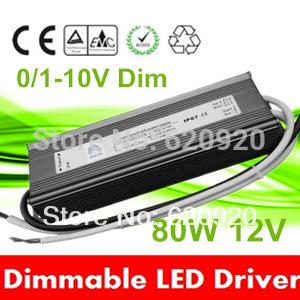 waterproof 80W 12V 24V constant voltage 0-10v dimmable led drivers dimming 1-10v power supply 110V/220V lighting transformer(China (Mainland))