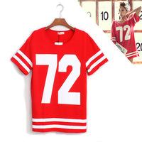 Stripe baseball uniform baseball uniform digital print t-shirt baseball t-shirt short-sleeve T-shirt female medium-long