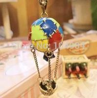 2014 Hot Air Balloon Oil Spot Glaze Multi Color Pendant European Long Chain Necklace