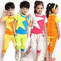 New 2014 Children Sets High Sale Spring summer Star Girls Clothing Sportswear Child Sports short-sleeve Set Free Shipping  8085