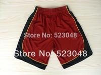 Free shipping Men Basketball Shorts Miami 3 Wade 6 Lebron James All White red Black Brand Shorts.embroidery logos.