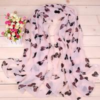 Min.order is $5(mix order) New Fashion Bow Chiffon shawl scarf Pashmina nice gift for women girl 80056