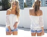 2014 Europe Fashion Sexy Women Slash Neck  Lace Three Quarter Sleeve blouse With High Quality