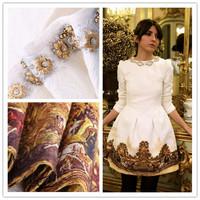 Vestido 2014 New Designer ZA Women Spring Autumn Dress Smart Casual Metal Beading Neckline Long Sleeves White Vintage Dress