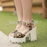 Women's Ladies Thick Heel Platform Street Sandals Shoes Summer New 2014 Fashion Brand Open Toe High Heels Sandalias Sapatos