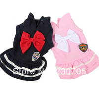 Free Shipping Fashion Sweet Pink / Navy Blue Pet Dog Bowtie Dress Clothes Puppy Clothing Costume Doggy One-Piece Dress Drop Ship