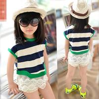 wholesale(5pcs/lot)-  summer lace stripe short-sleeve T-shirt for AGE 2-7 child girl