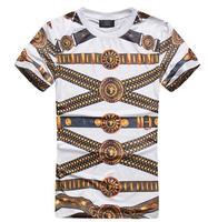 Summer 2014 tide brand metal belt printing skateboard street of hip-hop men's short-sleeved t-shirt DROP Shipping Y150020