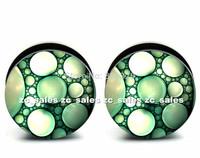 Wholesale 60pcs green bubbles logo ear plug Aarylic screw fit ear plug flesh tunnel body piercing mix size 6mm-25mm A0154