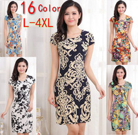L-4XL 2014 New Fashion Women Summer dress Slim Tunic Milk Silk print Floral dresses Casual Plus Size sexy bodycon dress vestidos
