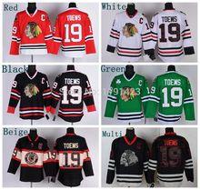 Spedizione gratuita dei chicago blackhawks hockey jerseys # 19 Jonathan Toews maglia nera nuova terza a buon mercato c patch cucito maglia(China (Mainland))