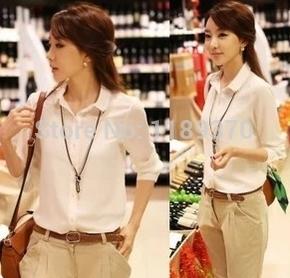 2014 spring, summer, low female shirts, lapel decoration, bottoming shirt at the end, Ms. chiffon shirt,(China (Mainland))