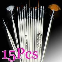15pcs White Nail Brush Brushes Set Nail Paint Design Pen Tools,Free Shipping Wholesale