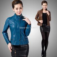 Plus size 2014 Spring leather clothing hot-selling Women outerwear motorcycle PU slim fashion leather jacket women,B1792
