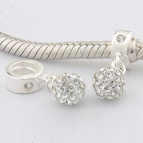 Fits Pandora Original Charm Bracelet 925 Sterling Silver Bead Crystal Ball Pendants European Screw Charm DIY