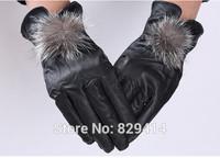 New design women genuine sheepskin leather gloves Winter warm black ladies leather gloves  21.5x9cm