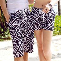 Free Shipping ! 2014 Men Women Beach Swimwear Flower Plaid Stripe Star Lovers Couple Swimming Sport Wear Beach Shorts 186-0001